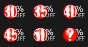 Vector red discount ball isolated on black background. Red discount ball set 30% off to 50% off Stock Photo