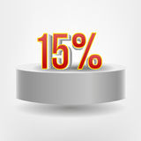 Vector red fifteen discount on flying podium Stock Image