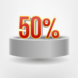 Vector red fifty discount on flying podium Royalty Free Stock Image