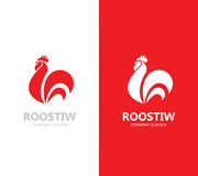Vector of red fire rooster and cock logo combination. Unique bird and cockerel design element for new year 2017 greeting. Vector logo or icon design element for Stock Images