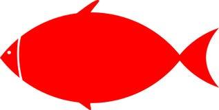Cartoon red fish on white background stock illustration
