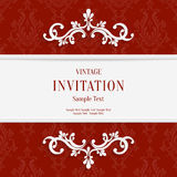 Vector Red Floral 3d Christmas Invitation Cards Background Stock Photos