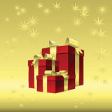 Vector Red gift box with gold ribbon bow. Vector Chrismas gold background - red gift box with gold ribbon bow Stock Photos