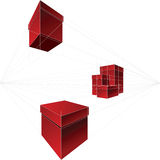 Vector Red gift boxes in two-point perspective Royalty Free Stock Photos