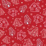 Vector red gingerbread houses Christmas seamless pattern background. Perfect for winter holiday fabric, giftwrap. Scrapbooking, greeting cards design projects Stock Image