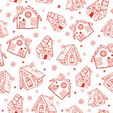 Vector red gingerbread houses seamless pattern background. Perfect for winter holiday fabric, giftwrap, scrapbooking. Greeting cards design projects. Pattern Stock Photography