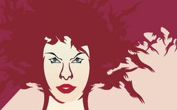 Vector red girl background Royalty Free Stock Images