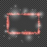 Vector red glitter frame with lights effects. Good for Christmas holiday. 2018.Shining rectangle banner on checkered Royalty Free Stock Photos