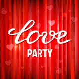Vector red glossy background for Valentines party poster design. Stock Images