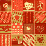 Vector red and gold seamless hearts pattern. Valentine's wrapping paper. Boundless background can be used for web page backgrounds, wallpapers, congratulations vector illustration