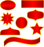 Vector Red golden stickers and banners. Different stickers shapes with red color and golden border stock illustration