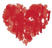 Watercolor abstract heart with splashes of blood. Vector red graphic abstract illustration of heart sign with ink blots, brush strokes, drops. Bloody heart with Royalty Free Stock Photography