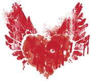 Abstract heart and wings with splashes of blood. Vector red graphic abstract illustration of heart with wings with ink blots, drops. Bloody heart and wings with Royalty Free Stock Image