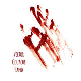 Vector red greased hand imprint Royalty Free Stock Photos