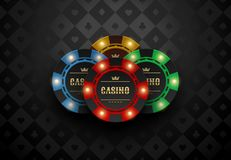 Vector red green blue yellow casino poker chip with luminous light elements. Black silk card suits background. Blackjack online. Vector red green blue yellow royalty free illustration