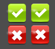 Vector Red and Green Check Mark Icons Royalty Free Stock Image