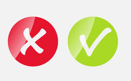 Vector Red and Green Check Mark Icons Stock Images