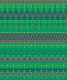 Vector red and green Faire Isle seamless pattern background stock illustration