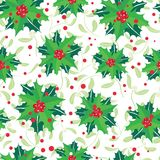 Vector red, green, holly berry bunches and mistletoe holiday seamless pattern background. Great for winter themed Stock Photos