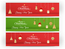 Vector,Red and green Merry christmas and happy new year and icon royalty free illustration