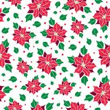 Vector red, green poinsettia flower and holly berry holiday seamless pattern background. Great for winter themed Stock Photo