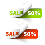 Vector Red and green sale coupons. (50% discount Vector Illustration