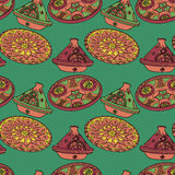 Vector red and green seamless pattern of arabic crockery. Stock Images