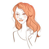 Vector red haired woman. Vector illustration of a young red haired woman Stock Photos