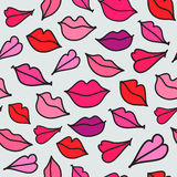 Vector red hand drawn kisses Stock Image