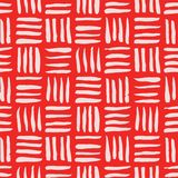 Vector red hand drawn plaid seamless pattern. Monochrome abstract background. Geometrical pattern. Perfect for background textures, textiles and wallpaper Stock Images