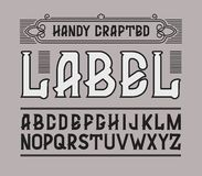 Vector red handy crafted vintage label font.  Royalty Free Illustration