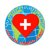 Vector red heart with cross on globe for health day Royalty Free Stock Image