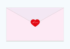Vector red heart with envelope pink Royalty Free Stock Photo