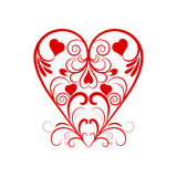 Vector Red Heart With Flower Curl Over White Stock Images