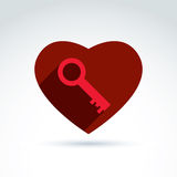 Vector red heart with a key isolated on white background. Love s Royalty Free Stock Images