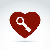 Vector red heart with a key isolated on white background.  Stock Images