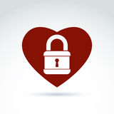Vector red heart with a padlock isolated on white background. Lo Stock Images