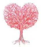 Vector red heart shape tree. Stock Photos