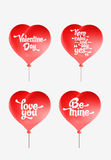 Vector red heart-shaped balloons set. Valentine day card Royalty Free Stock Photos