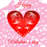Vector red heart on Valentine`s Day for your design. Greeting card Stock Photos