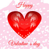 Vector red heart on Valentine`s Day for your design. Greeting card Royalty Free Stock Image