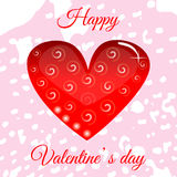 Vector red heart on Valentine`s Day for your design. Greeting card Stock Images