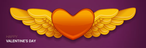 Vector red heart with wings. Happy valentines day illustration. Vector red heart with wings Royalty Free Stock Image