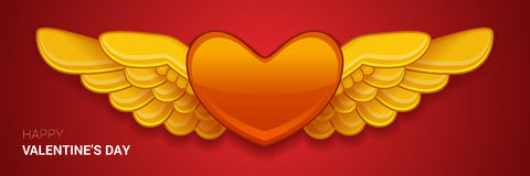 Vector red heart with wings. Royalty Free Stock Images