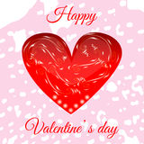 Vector red heart for your design. Valentine`s Day greeting card Stock Photography