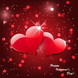 Vector red hearts on abstract background Stock Photos