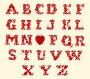 Vector red hearts alphabet on a white background Royalty Free Stock Image