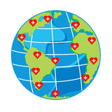 Vector red hearts with cross on map globe for health day Stock Photo
