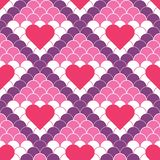 Vector red hearts and fish scale seamless pattern stock illustration