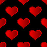 Vector Red Hearts Seamless Pattern. Stock Image